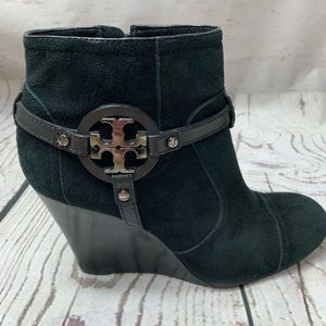 Tory Burch Black Suede Ankle Boots
